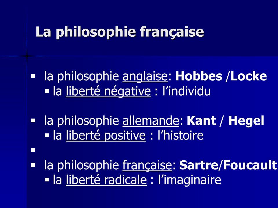 la philosophie anglaise: Hobbes /Locke la liberté négative : lindividu la philosophie allemande: Kant / Hegel la liberté positive : lhistoire la philo