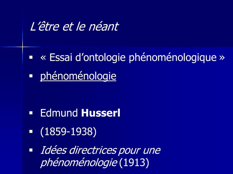 « Essai dontologie phénoménologique » phénoménologie Edmund Husserl (1859-1938) Idées directrices pour une phénoménologie (1913) Lêtre et le néant