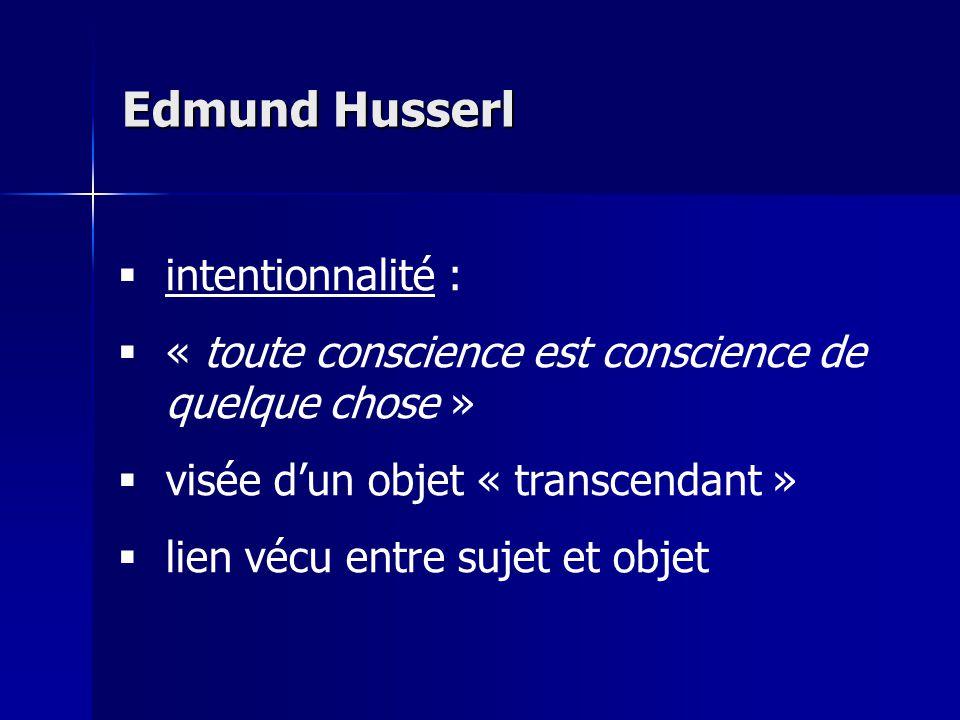 intentionnalité : « toute conscience est conscience de quelque chose » visée dun objet « transcendant » lien vécu entre sujet et objet Edmund Husserl