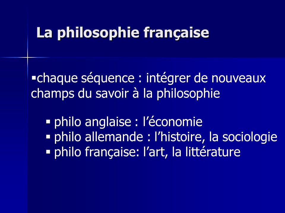 chaque séquence : intégrer de nouveaux champs du savoir à la philosophie philo anglaise : léconomie philo allemande : lhistoire, la sociologie philo f
