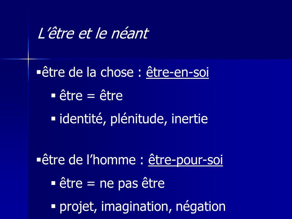 être de la chose : être-en-soi être = être identité, plénitude, inertie être de lhomme : être-pour-soi être = ne pas être projet, imagination, négatio