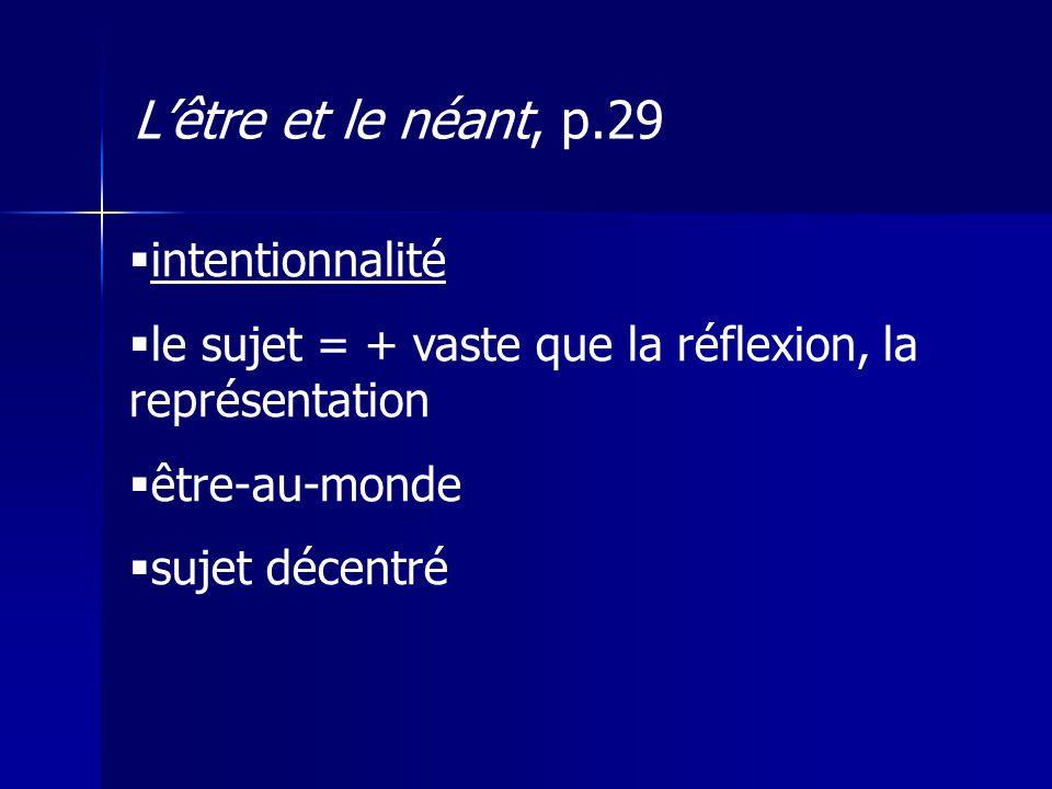 intentionnalité le sujet = + vaste que la réflexion, la représentation être-au-monde sujet décentré Lêtre et le néant, p.29