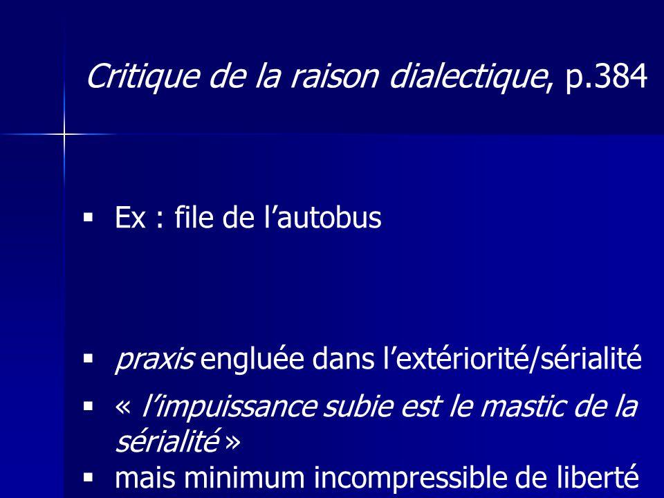 Ex : file de lautobus praxis engluée dans lextériorité/sérialité « limpuissance subie est le mastic de la sérialité » mais minimum incompressible de l
