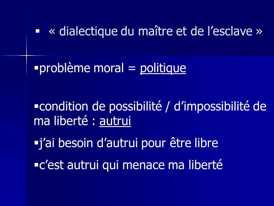 problème moral = politique condition de possibilité / dimpossibilité de ma liberté : autrui jai besoin dautrui pour être libre cest autrui qui menace
