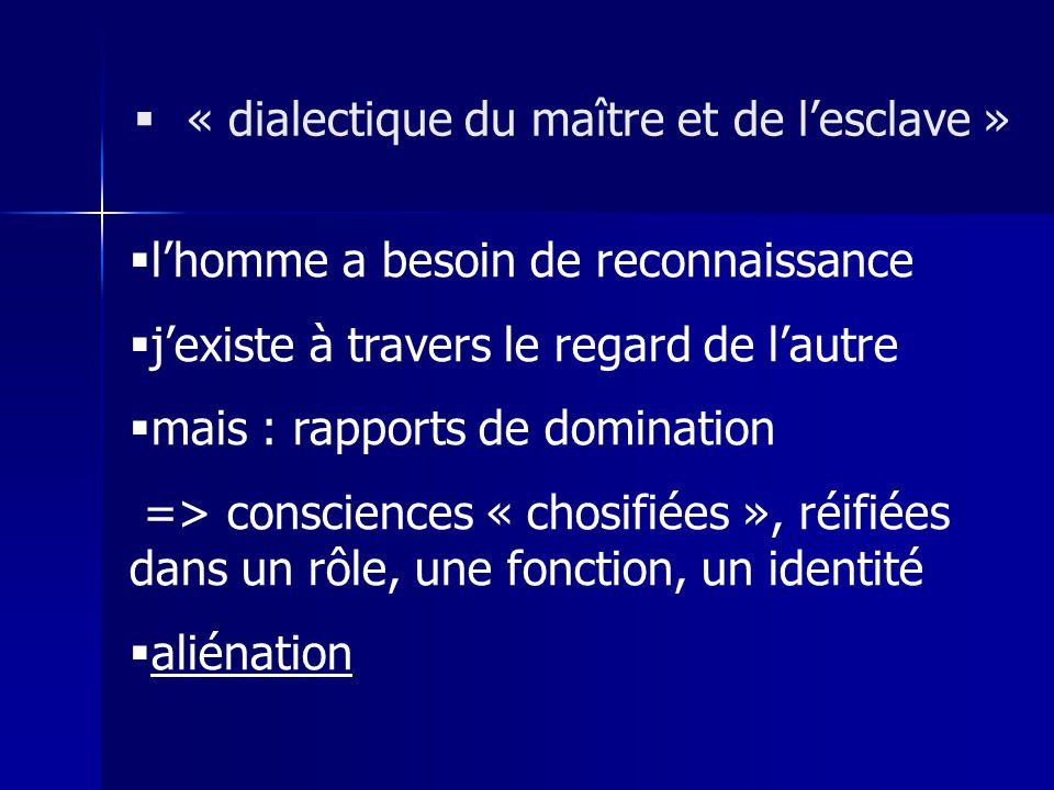 lhomme a besoin de reconnaissance jexiste à travers le regard de lautre mais : rapports de domination => consciences « chosifiées », réifiées dans un