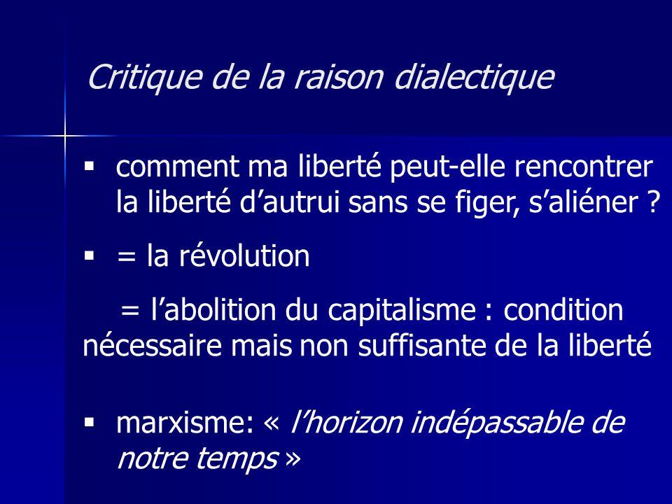 comment ma liberté peut-elle rencontrer la liberté dautrui sans se figer, saliéner ? = la révolution = labolition du capitalisme : condition nécessair