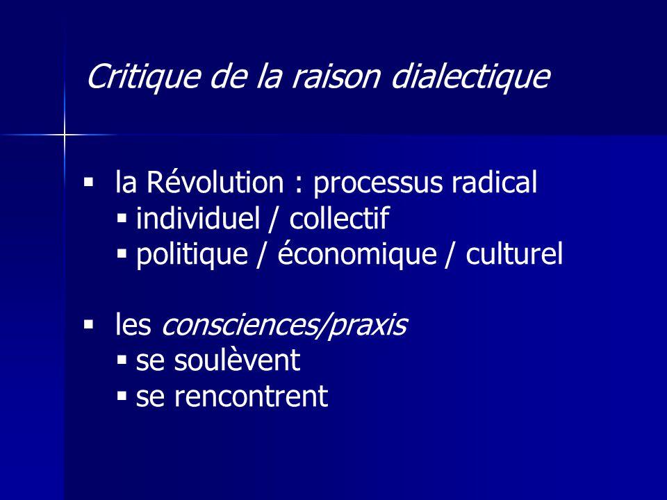 la Révolution : processus radical individuel / collectif politique / économique / culturel les consciences/praxis se soulèvent se rencontrent Critique