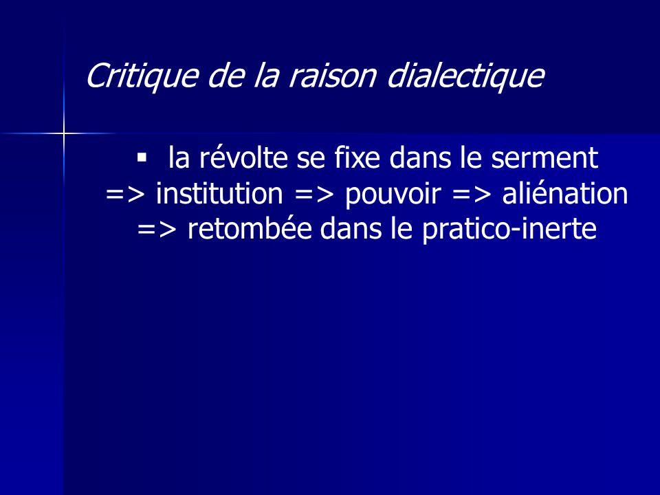 la révolte se fixe dans le serment => institution => pouvoir => aliénation => retombée dans le pratico-inerte Critique de la raison dialectique