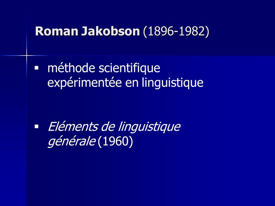 méthode scientifique expérimentée en linguistique Eléments de linguistique générale (1960) Roman Jakobson (1896-1982)