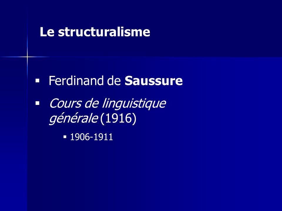 Ferdinand de Saussure Cours de linguistique générale (1916) 1906-1911 Le structuralisme