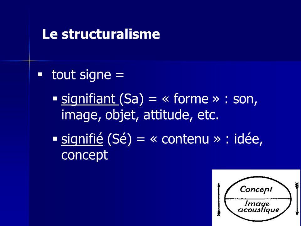 tout signe = signifiant (Sa) = « forme » : son, image, objet, attitude, etc. signifié (Sé) = « contenu » : idée, concept Le structuralisme