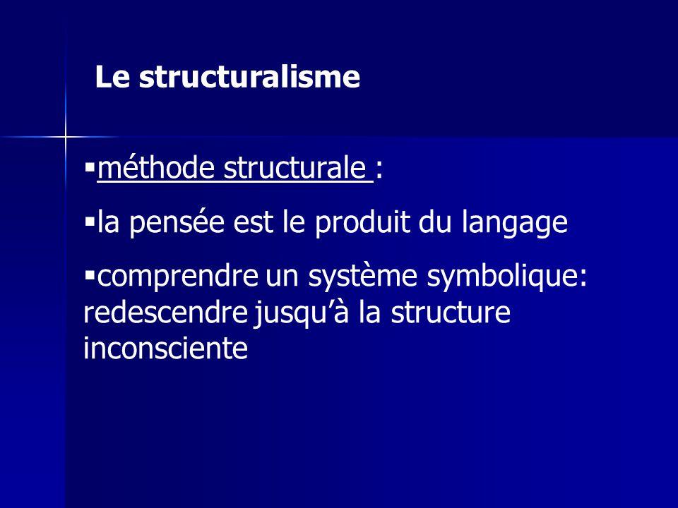 méthode structurale : la pensée est le produit du langage comprendre un système symbolique: redescendre jusquà la structure inconsciente Le structural