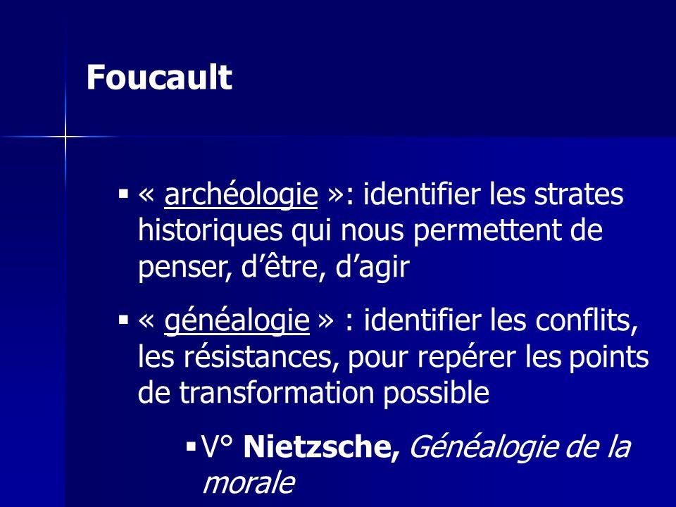 « archéologie »: identifier les strates historiques qui nous permettent de penser, dêtre, dagir « généalogie » : identifier les conflits, les résistan