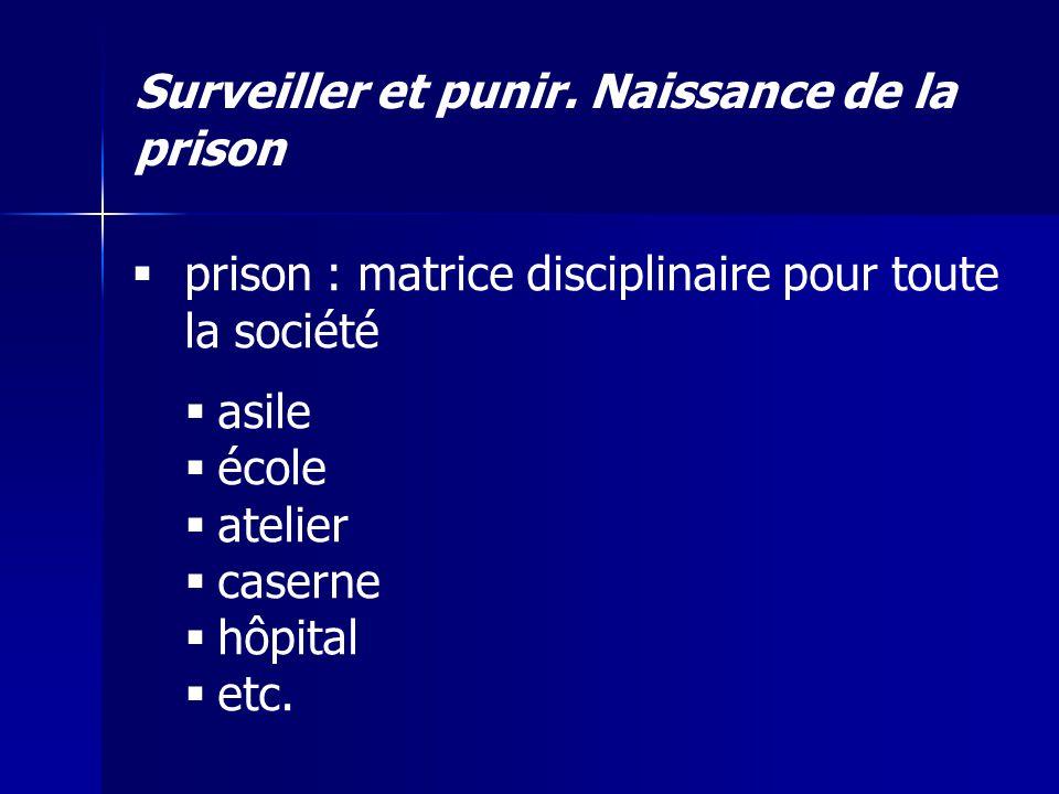Surveiller et punir. Naissance de la prison prison : matrice disciplinaire pour toute la société asile école atelier caserne hôpital etc.
