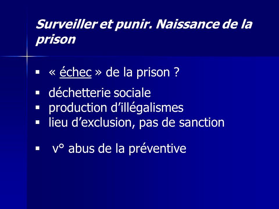 Surveiller et punir. Naissance de la prison « échec » de la prison ? déchetterie sociale production dillégalismes lieu dexclusion, pas de sanction v°