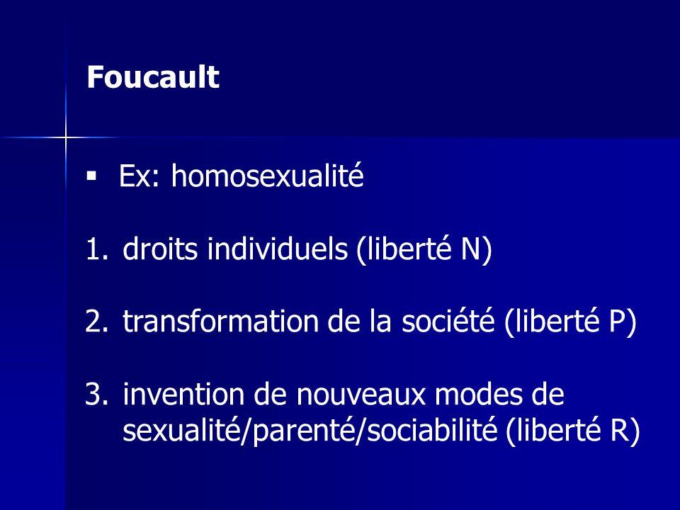 Foucault Ex: homosexualité 1.droits individuels (liberté N) 2.transformation de la société (liberté P) 3.invention de nouveaux modes de sexualité/pare