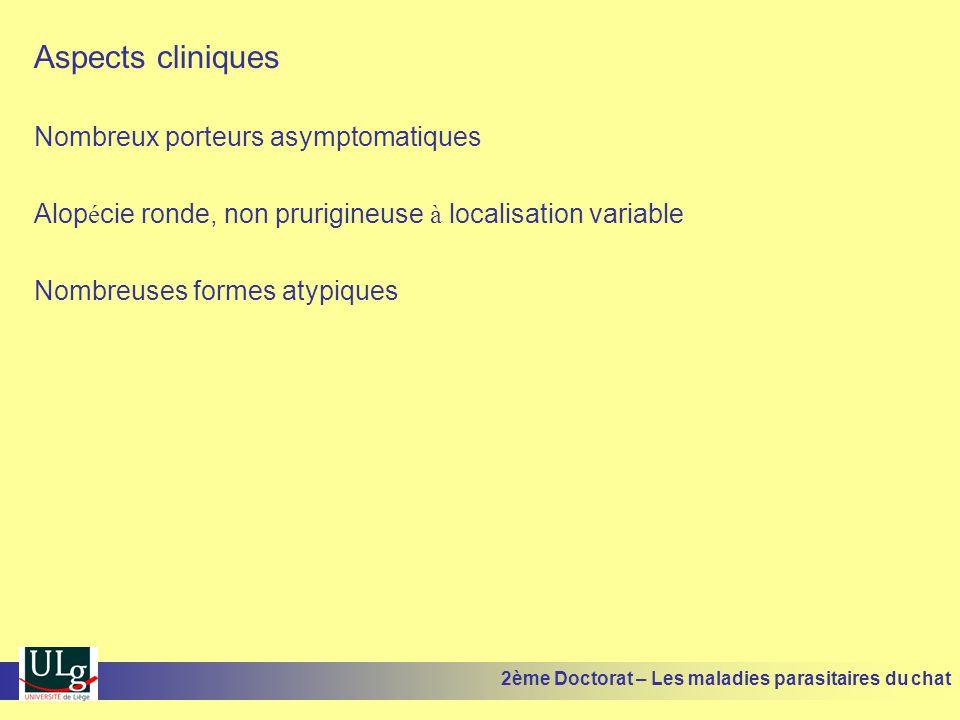 Aspects cliniques Nombreux porteurs asymptomatiques Alop é cie ronde, non prurigineuse à localisation variable Nombreuses formes atypiques 2ème Doctor