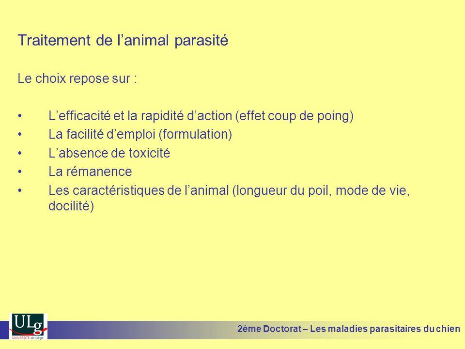 Traitement de lanimal parasité Le choix repose sur : Lefficacité et la rapidité daction (effet coup de poing) La facilité demploi (formulation) Labsen