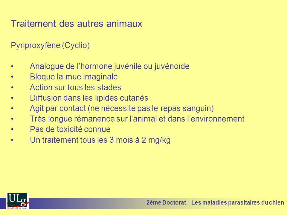 Traitement des autres animaux Pyriproxyfène (Cyclio) Analogue de lhormone juvénile ou juvénoïde Bloque la mue imaginale Action sur tous les stades Diffusion dans les lipides cutanés Agit par contact (ne nécessite pas le repas sanguin) Très longue rémanence sur lanimal et dans lenvironnement Pas de toxicité connue Un traitement tous les 3 mois à 2 mg/kg 2ème Doctorat – Les maladies parasitaires du chien