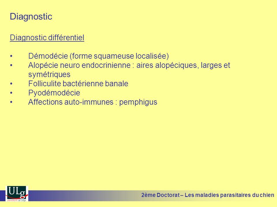 Diagnostic Diagnostic différentiel Démodécie (forme squameuse localisée) Alopécie neuro endocrinienne : aires alopéciques, larges et symétriques Folliculite bactérienne banale Pyodémodécie Affections auto-immunes : pemphigus 2ème Doctorat – Les maladies parasitaires du chien