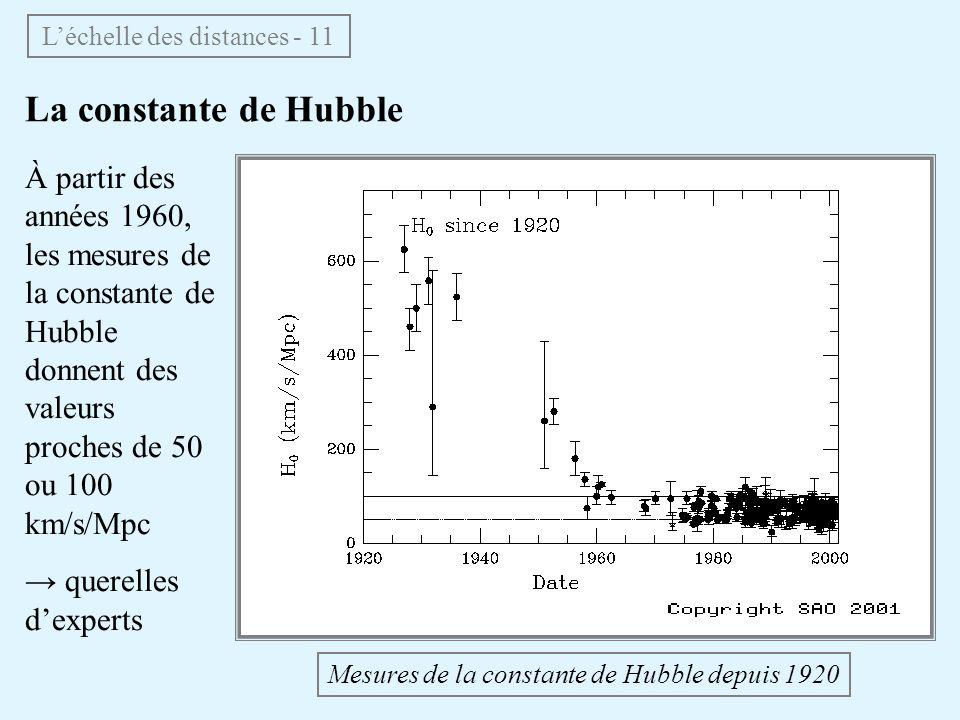 La constante de Hubble Léchelle des distances - 11 Mesures de la constante de Hubble depuis 1920 À partir des années 1960, les mesures de la constante de Hubble donnent des valeurs proches de 50 ou 100 km/s/Mpc querelles dexperts