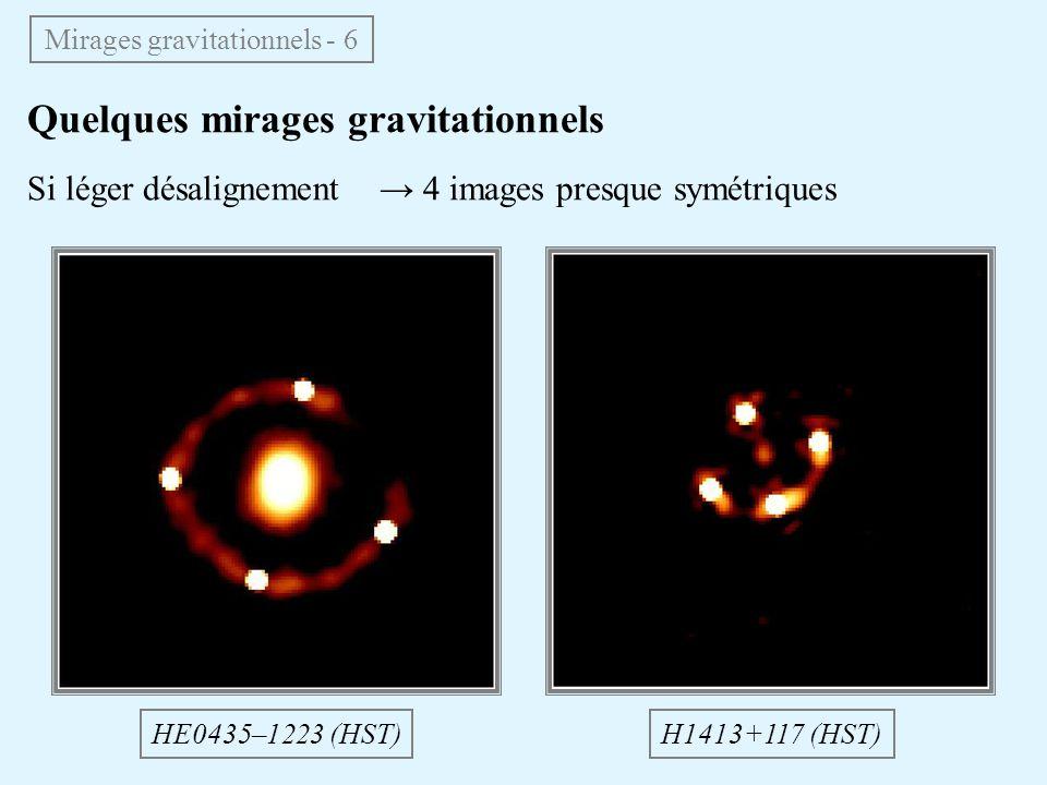 Quelques mirages gravitationnels Si léger désalignement 4 images presque symétriques Mirages gravitationnels - 6 HE0435–1223 (HST)H1413+117 (HST)