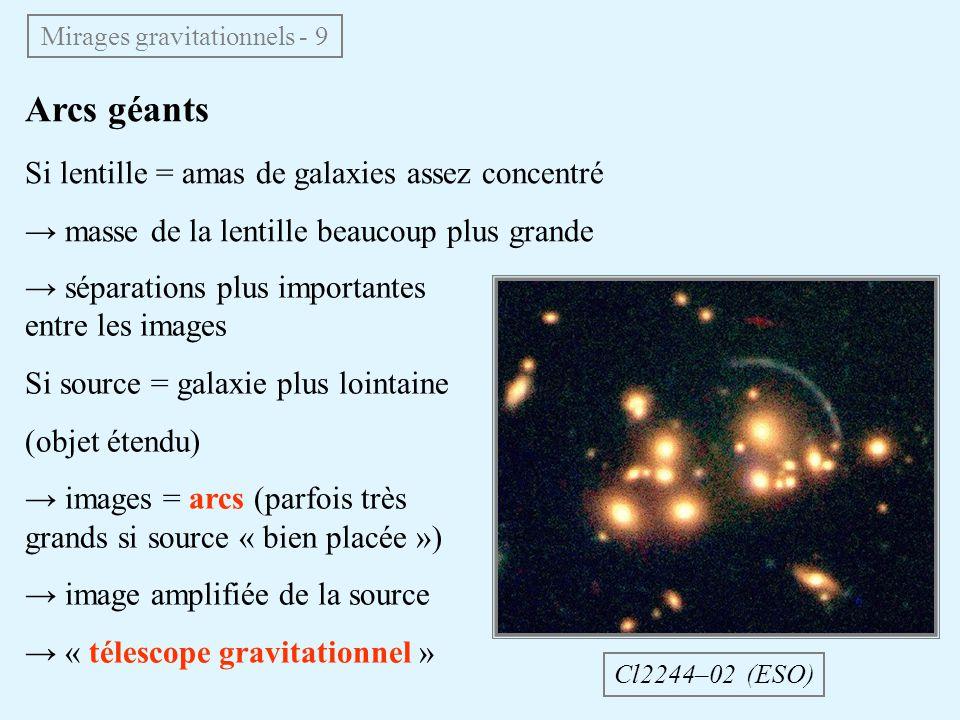 Arcs géants Si lentille = amas de galaxies assez concentré masse de la lentille beaucoup plus grande Mirages gravitationnels - 9 séparations plus importantes entre les images Si source = galaxie plus lointaine (objet étendu) images = arcs (parfois très grands si source « bien placée ») image amplifiée de la source « télescope gravitationnel » Cl2244–02 (ESO)