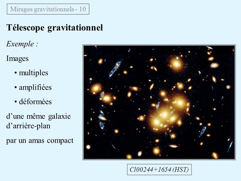 Télescope gravitationnel Mirages gravitationnels - 10 Cl00244+1654 (HST) Exemple : Images multiples amplifiées déformées dune même galaxie darrière-plan par un amas compact