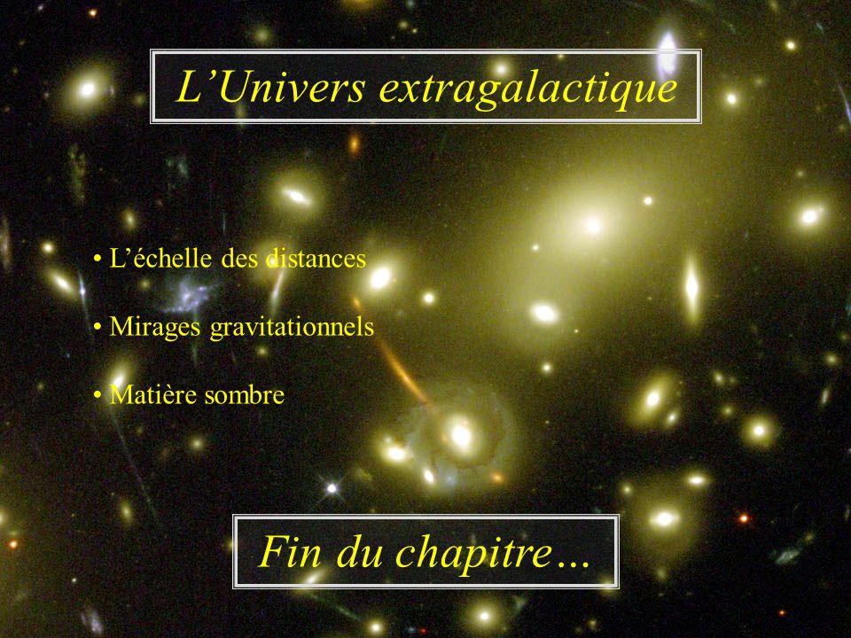 LUnivers extragalactique Léchelle des distances Mirages gravitationnels Matière sombre Fin du chapitre…