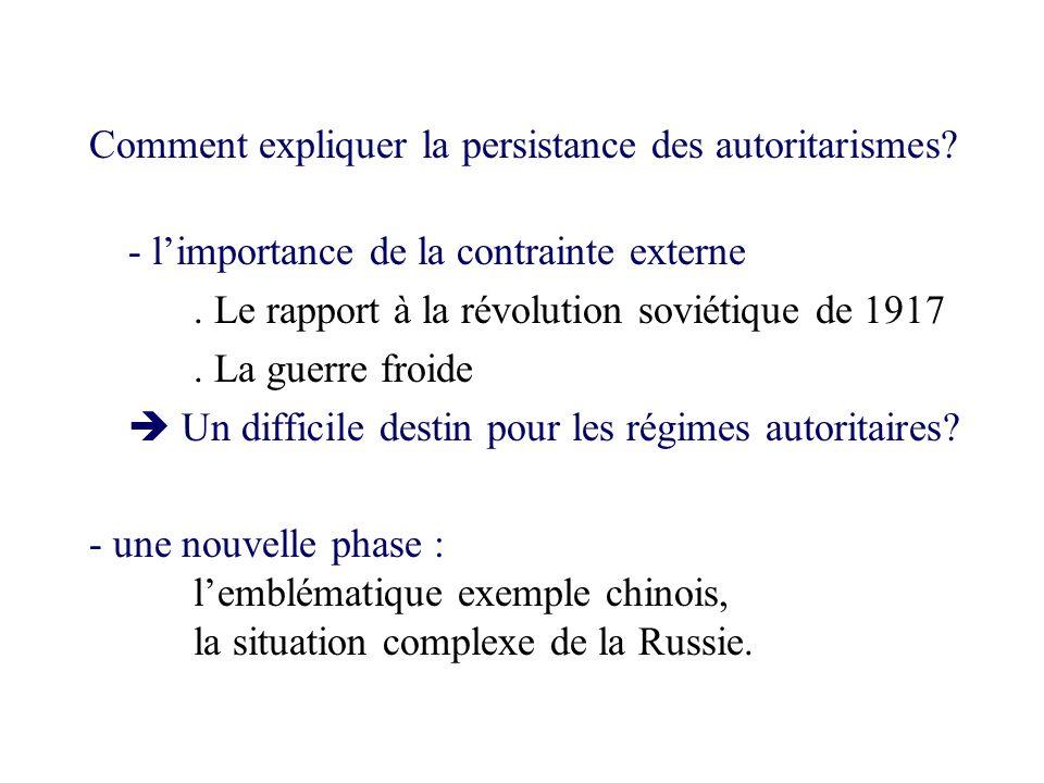 Comment expliquer la persistance des autoritarismes? - limportance de la contrainte externe. Le rapport à la révolution soviétique de 1917. La guerre