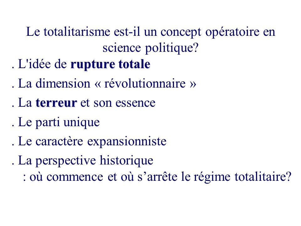 Le totalitarisme est-il un concept opératoire en science politique? rupture totale. L'idée de rupture totale. La dimension « révolutionnaire » terreur