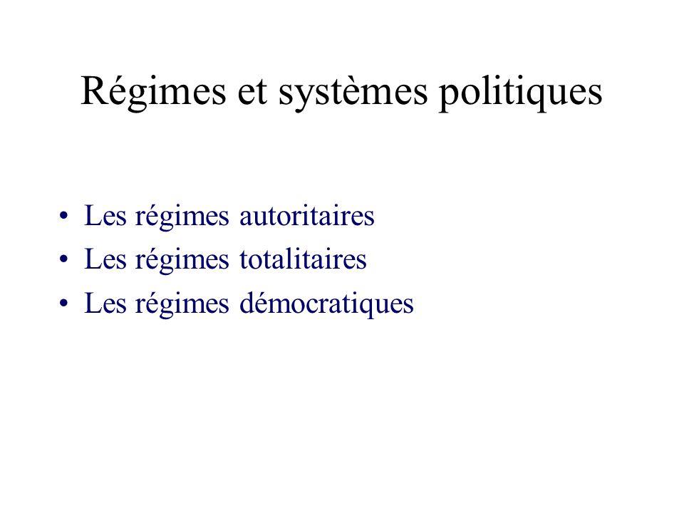 Régimes et systèmes politiques Les régimes autoritaires Les régimes totalitaires Les régimes démocratiques