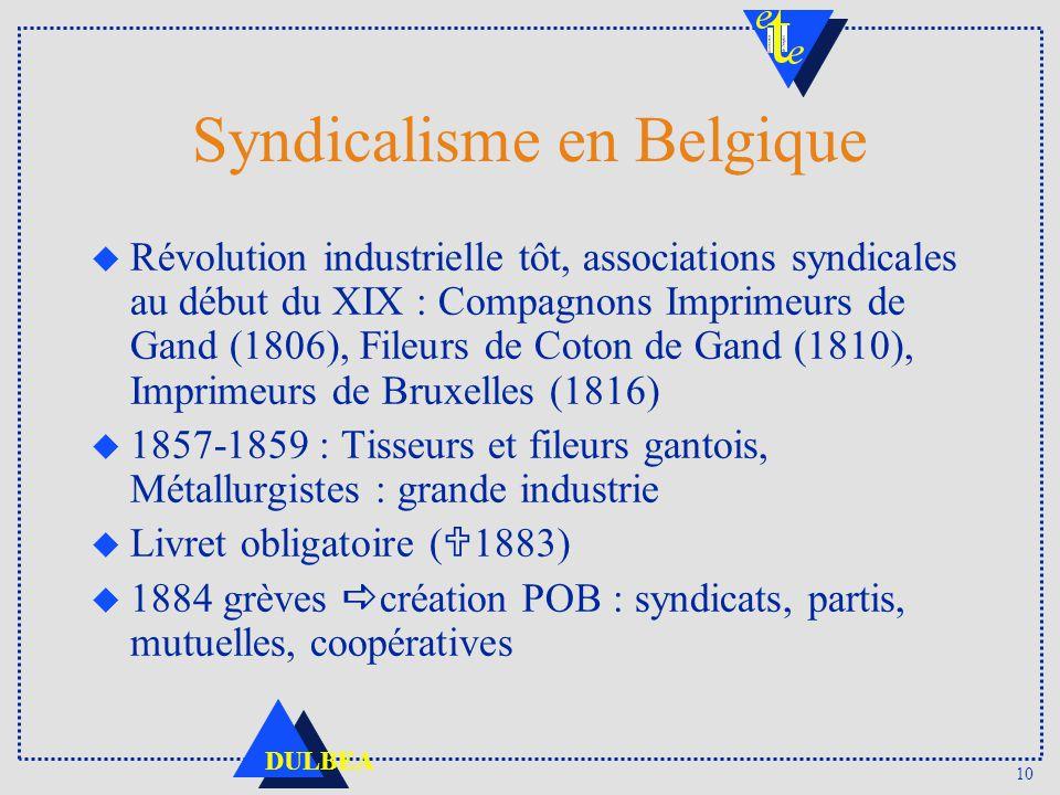 10 DULBEA Syndicalisme en Belgique u Révolution industrielle tôt, associations syndicales au début du XIX : Compagnons Imprimeurs de Gand (1806), File