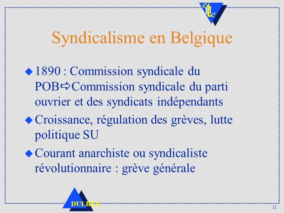 11 DULBEA Syndicalisme en Belgique 1890 : Commission syndicale du POB Commission syndicale du parti ouvrier et des syndicats indépendants Croissance,
