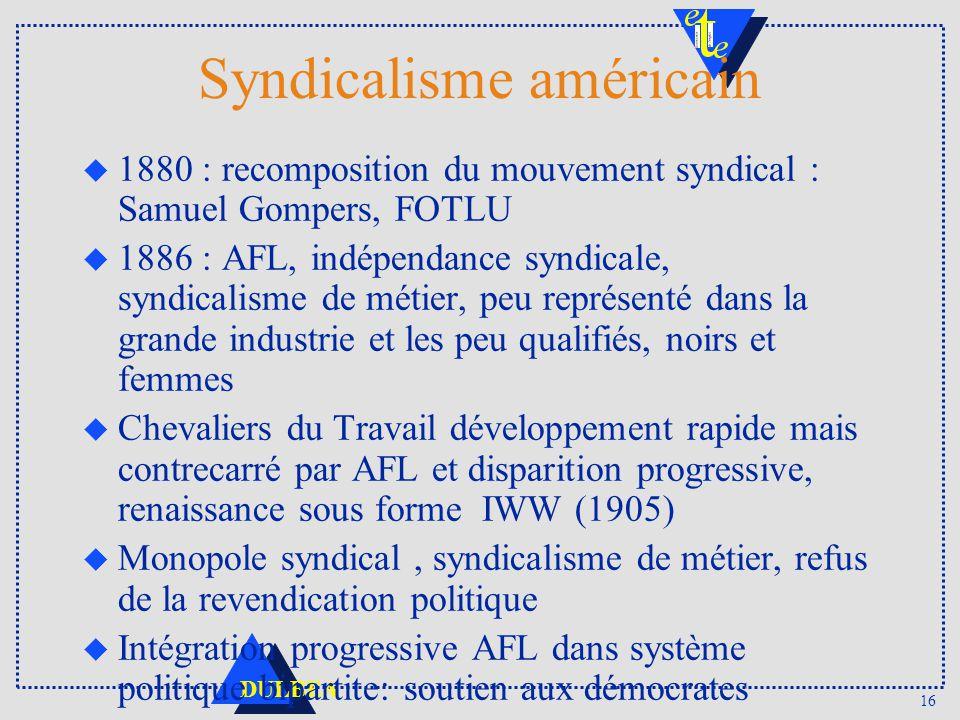 16 DULBEA Syndicalisme américain u 1880 : recomposition du mouvement syndical : Samuel Gompers, FOTLU u 1886 : AFL, indépendance syndicale, syndicalis