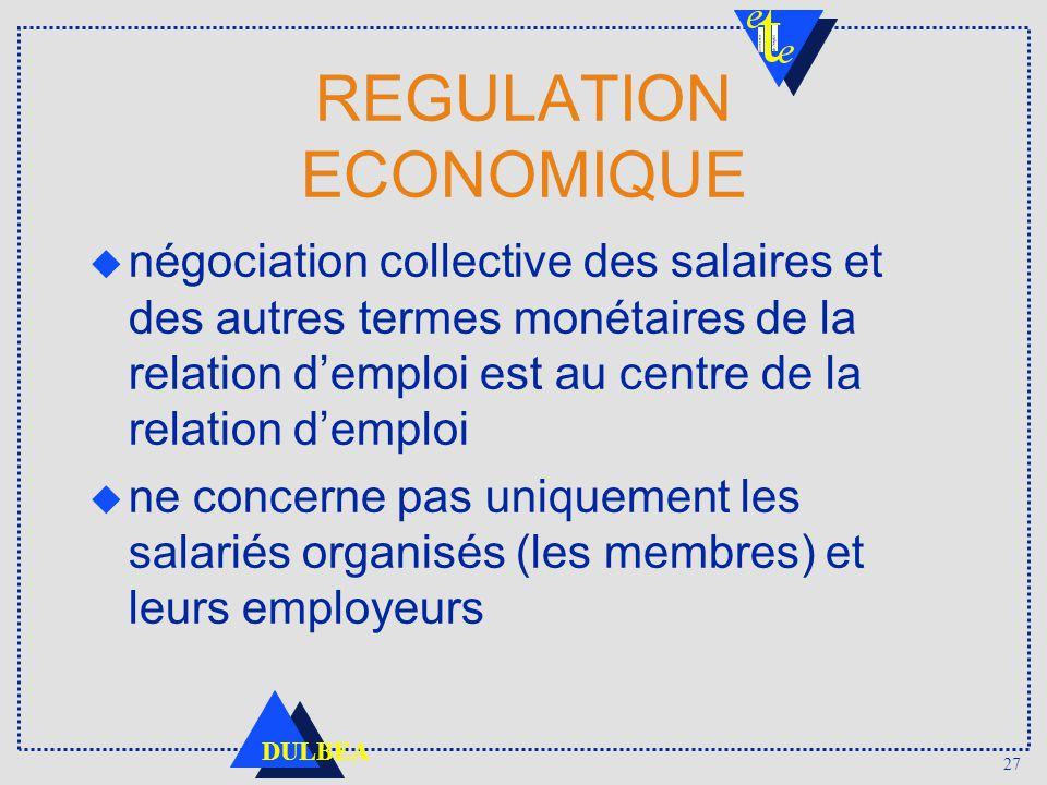 27 DULBEA REGULATION ECONOMIQUE u négociation collective des salaires et des autres termes monétaires de la relation demploi est au centre de la relat