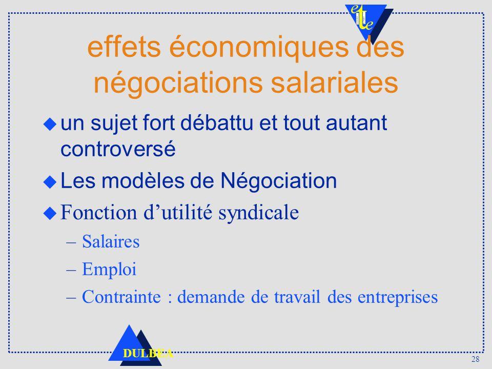 28 DULBEA effets économiques des négociations salariales un sujet fort débattu et tout autant controversé Les modèles de Négociation u Fonction dutili