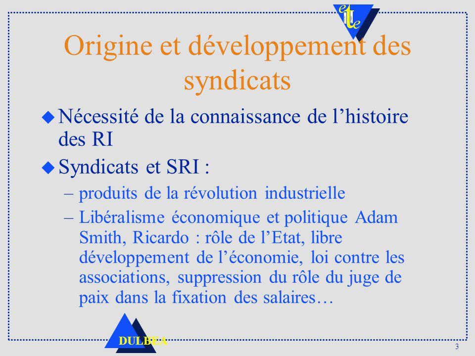 3 DULBEA Origine et développement des syndicats u Nécessité de la connaissance de lhistoire des RI u Syndicats et SRI : –produits de la révolution ind