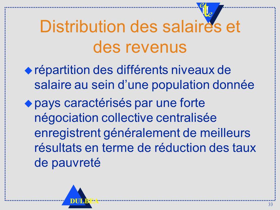 33 DULBEA Distribution des salaires et des revenus répartition des différents niveaux de salaire au sein dune population donnée pays caractérisés par