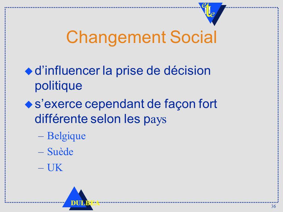 36 DULBEA Changement Social dinfluencer la prise de décision politique sexerce cependant de façon fort différente selon les p ays –Belgique –Suède –UK