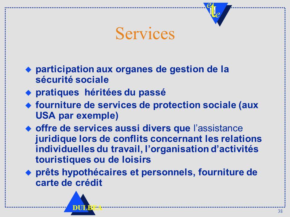 38 DULBEA Services u participation aux organes de gestion de la sécurité sociale u pratiques héritées du passé u fourniture de services de protection