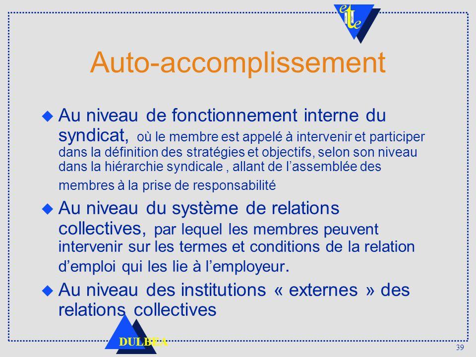 39 DULBEA Auto-accomplissement Au niveau de fonctionnement interne du syndicat, où le membre est appelé à intervenir et participer dans la définition