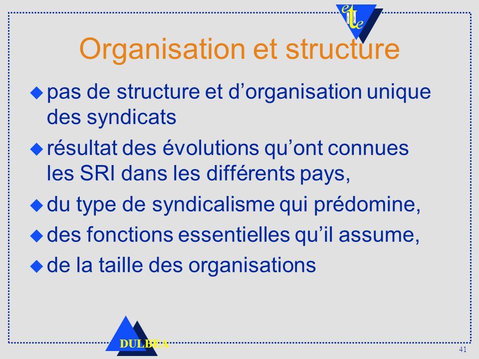 41 DULBEA Organisation et structure pas de structure et dorganisation unique des syndicats u résultat des évolutions quont connues les SRI dans les di