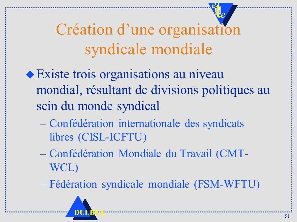 51 DULBEA Création dune organisation syndicale mondiale u Existe trois organisations au niveau mondial, résultant de divisions politiques au sein du m