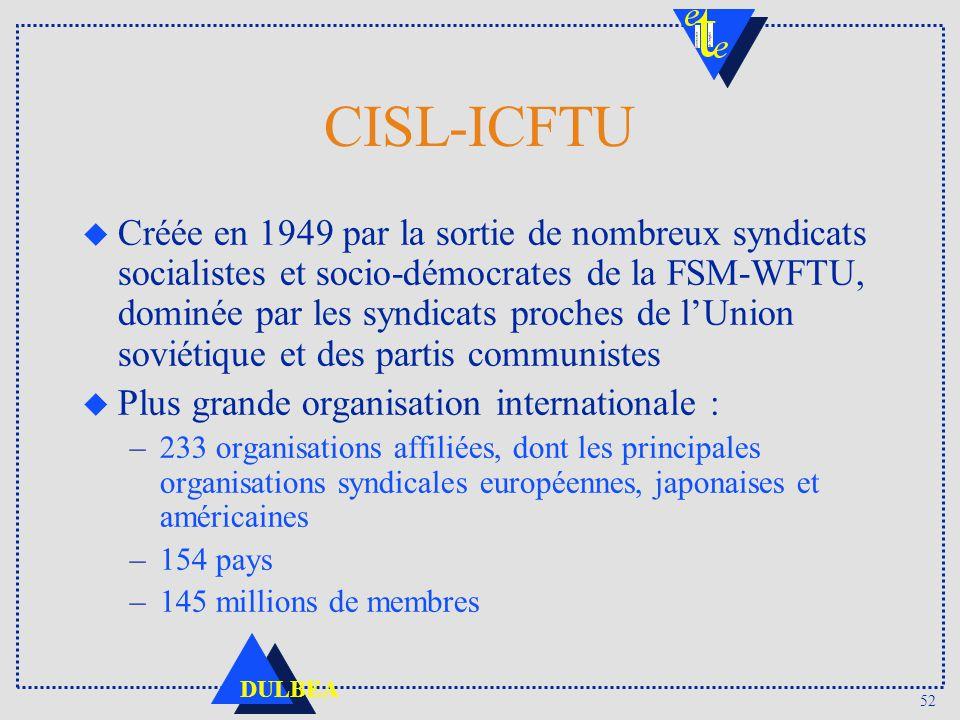 52 DULBEA CISL-ICFTU u Créée en 1949 par la sortie de nombreux syndicats socialistes et socio-démocrates de la FSM-WFTU, dominée par les syndicats pro