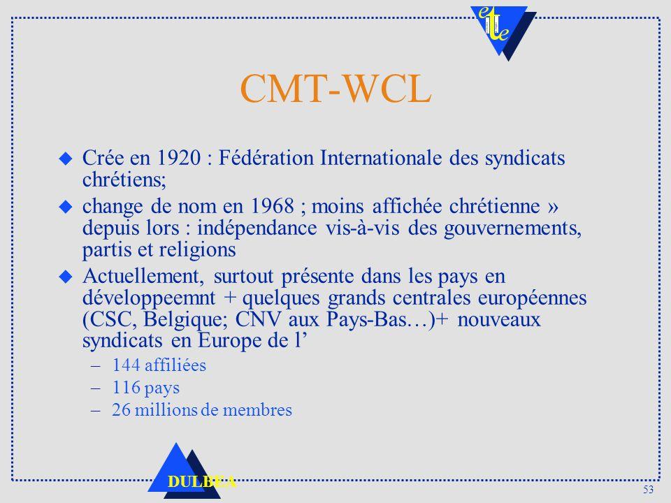 53 DULBEA CMT-WCL u Crée en 1920 : Fédération Internationale des syndicats chrétiens; u change de nom en 1968 ; moins affichée chrétienne » depuis lor