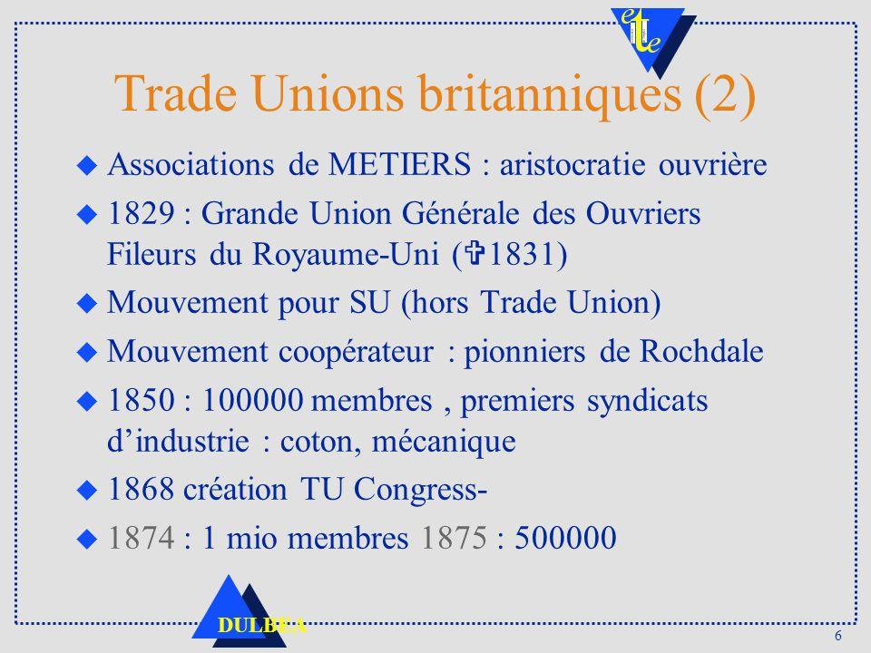 6 DULBEA Trade Unions britanniques (2) u Associations de METIERS : aristocratie ouvrière 1829 : Grande Union Générale des Ouvriers Fileurs du Royaume-