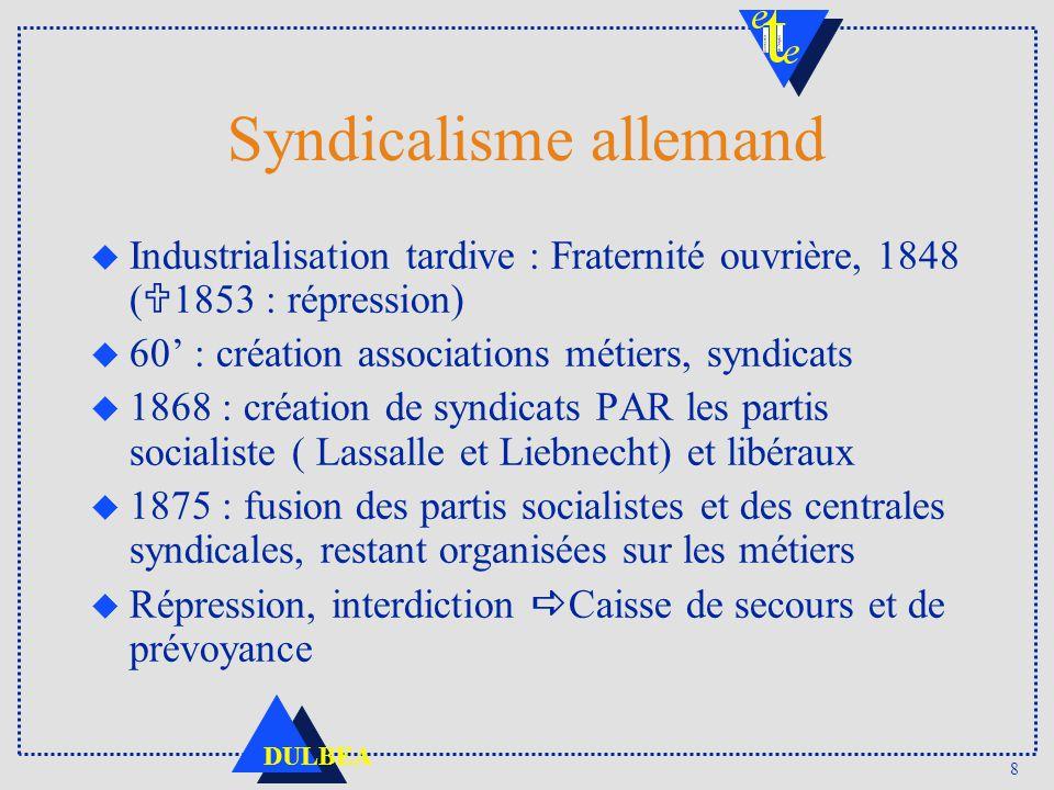 8 DULBEA Syndicalisme allemand Industrialisation tardive : Fraternité ouvrière, 1848 ( 1853 : répression) u 60 : création associations métiers, syndic