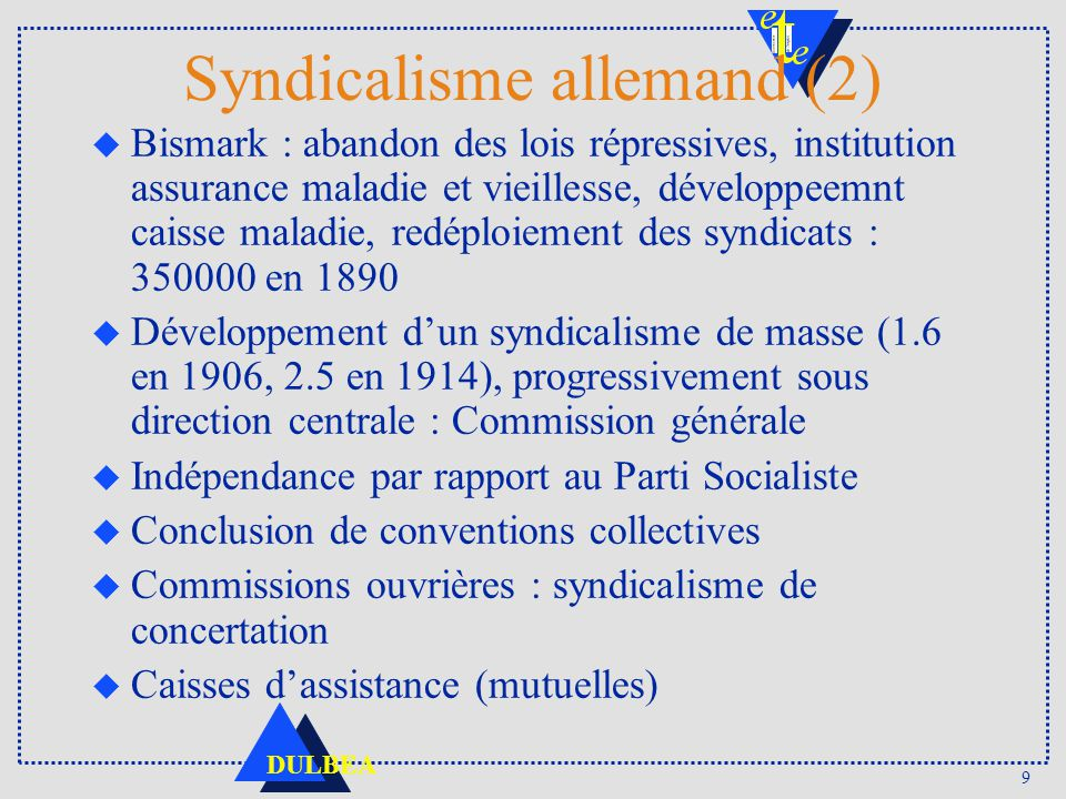 9 DULBEA Syndicalisme allemand (2) u Bismark : abandon des lois répressives, institution assurance maladie et vieillesse, développeemnt caisse maladie