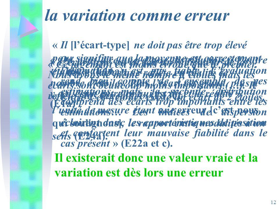 12 la variation comme erreur « On peut dire que dune distribution à lautre lestimation nest pas fiable. Lévaluation rend bien compte de lensemble de c